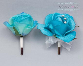 Turquoise Blue Rose Pin On Corsage and Boutonniere Set. Real Touch Flowers. Caroline Rose Collection