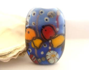 Squeezed Aqua Bead Handmade Lampwork