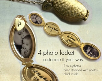Folding Four Photo Locket, Brass Multi Photo Locket, Oval Locket, Photo Locket,  4 Photo Locket, Golden Locket, Family Tree Locket, Mom Gift