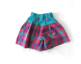 vintage shorts girls childrens clothing 80s toddler size 4t plaid teal green ruffle waist