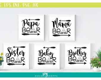 SVG Bundle, Brother Bear SVG Files, Mama Bear, Papa Bear, Baby Bear, Sister Bear, svg files for Cricut, SVG Files for Silhouette, cut file