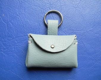 Key holder or decorative light blue leather bag