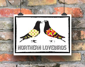 Northern Lovebirds. Pigeon Print. Modern Print. Illustration. Contemporary Print. Racing Pigeon Print. Northern Homebird Print
