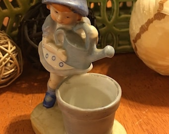 Blue Girl With Watering Can Figurine Made In Japan