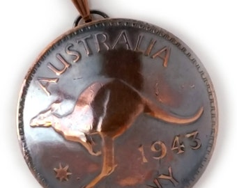 Copper Kangaroo Pendant, Australia One Penny Coin Jewelry,Copper Jewelry,Australian Coin Necklace,Kangaroo Jewelry,Bronze Coin Jewelry