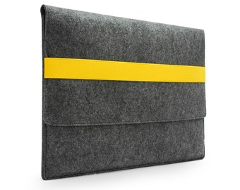 "20% discount! Laptop Sleeve Felt 11''13'' Macbook Air 15"" Macbook Pro Retina Sleeve Macbook Case Cover Wallet with Yellow/Orange Band E1148"