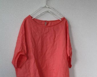 linen blouses coral pink MADE IN JAPAN