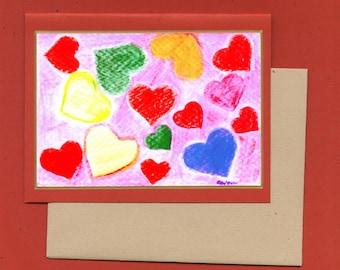 Watercolor Hearts Fine Art Note Card