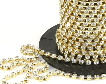 Cystal/Gold Rhinestone/Diamante/Crystal Trim - 1Metre - (4mm or 5mm setting) - Accessories, Cake Design, Bouquets, Jewellery, Costume!
