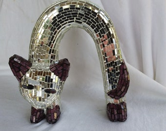 Vintage Mosaic Mirror and Glass Siamese Kitty Cat Sculpture Hat Stand?