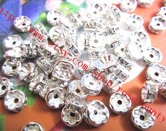 Wholesale 100pcs 8mm bright silver crystal spacer beads