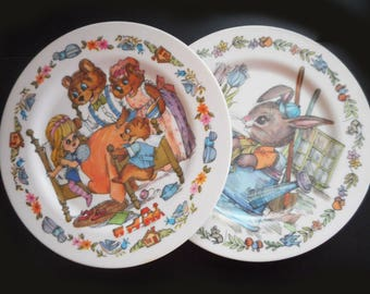 Vintage Childrens Melamine Plates 1970s Small Child\u0027s Dishes Cute Goldilocks and Three Bears Peter Rabbit 7 & Childrens dishes | Etsy