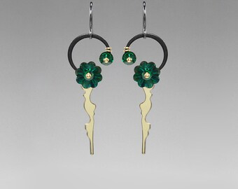Steampunk Earrings with Emerald Swarovski Crystals, Statement Earrings, Green Crystal, Bridal Jewelry, Clock Hands, Demeter II v7
