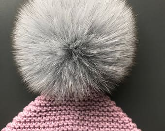Pixie style hat with real fur pom