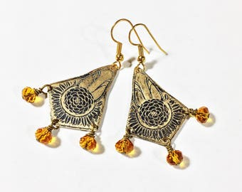 Etched Brass Earrings, Art Deco Earrings Amber Beads - Free Domestic Shipping