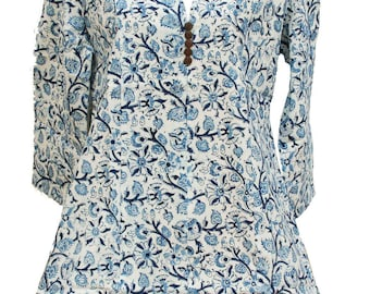 Tunic blue flowers, ethical and eco-friendly