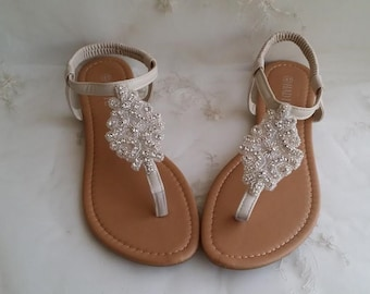 Ivory Wedding Sandals with Crystals Destination Wedding Sandals Beach Wedding Sandals Beach Wedding Shoes Vegan Sandals