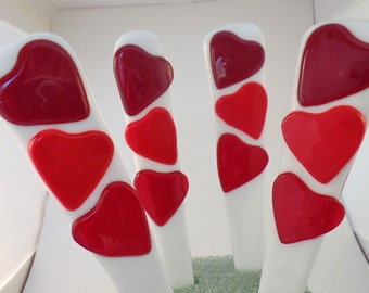 Valentine, Heart, Plant Stake, Garden Stake, Heart Stick, Valentine's Day, Plant Stake, Fused Glass, Decorative