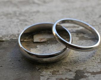 14k white gold half round wedding band set (2 rings)