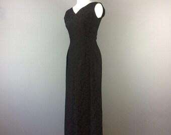 Vintage 50s 60s Black Floral Brocade Long Evening Wiggle Dress 10