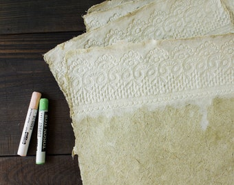 Handmade paper Beautiful decorative paper Hemp paper Lace paper Writing paper Textured paper Natural paper (#21gwl)