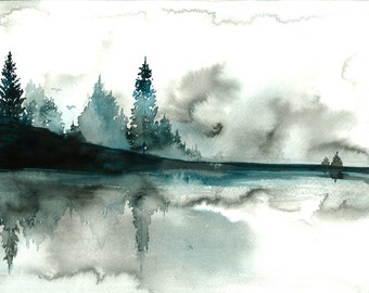 Beyond the Pines, print from original watercolor illustration by Jessica Durrant