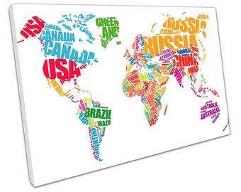 Typography canvas etsy typography world map canvas wall art picture large 75 x 50 cm c2796 gumiabroncs Choice Image