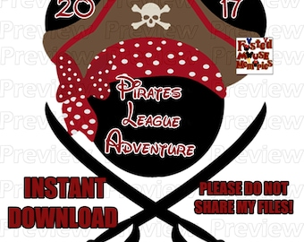 Digital Pirate Mouse Head Pirate Minnie Ears Pirate League Shirt Transfer - DIY Pirate Mouse Head Shirt
