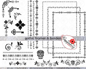 Gothic Frames & Borders: Clip Art Pack Card Making Digital Frames Page Borders Skull Halloween Steampunk Corner Borders