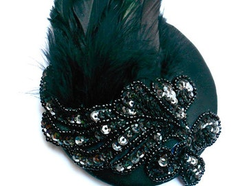 Black Gatsby Fascinator Burlesque Cocktail Hat with Sequin Details Flapper Charleston Accessory