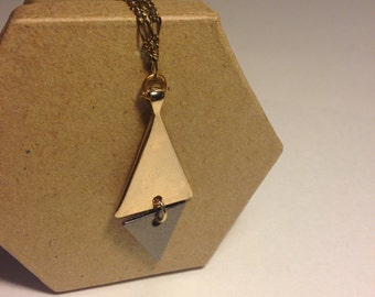 Triangle geometric gold necklace