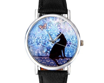 cat watch, watch for women, women wrist watch, unique watch, idea gift, birthday gift, pet lover gift, cat jewelry, ladies watch, funny gift
