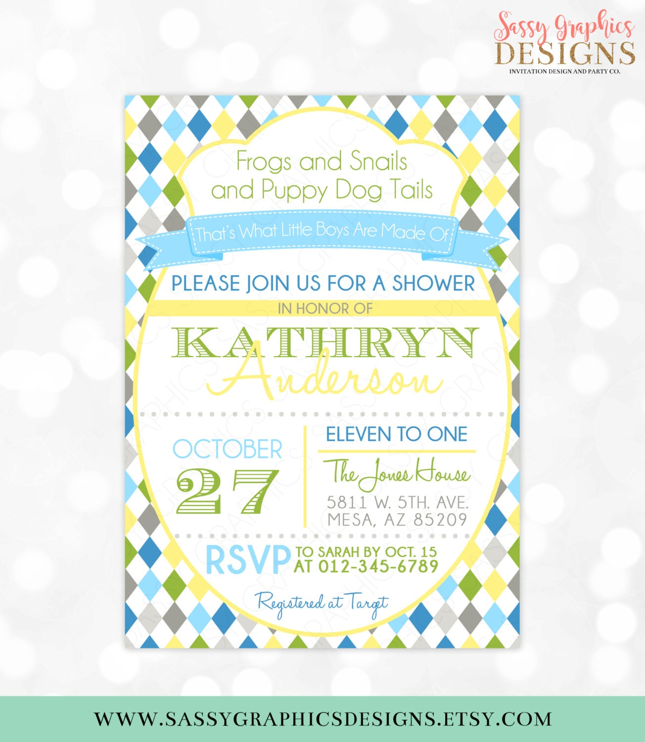 Boys Baby Shower Invitation Frogs Snails Puppy Dog Tails