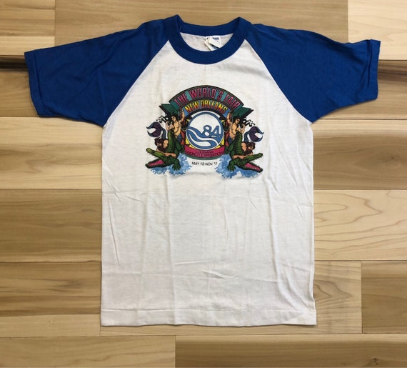1984 World Fair New Orleans T-Shirt Raglan Novelty Graphic Tee New Old Stock Single Stitch Hanes Poly-Cotton 50 50 Made in USA