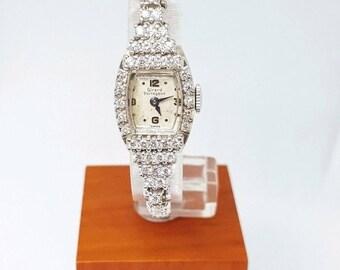 "Vintage Women's 14KW & Platinum Girard Perregaux 216 17J Handwinding Watch 6.75"""