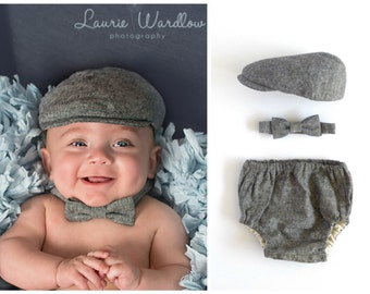 Boy baby gift set, black linen hat, bow tie and bloomer set, Newborn gift set, boy baby Christmas gift, newborn boy gift -  made to order