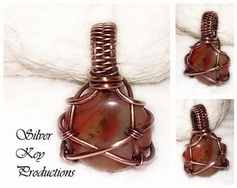 Carnelian Agate Wire Pendant – Copper Wire Wrapped Pendant - Wire Wrapped Jewelry Handmade