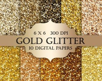 Gold glitter digital paper -  Glitter gold, Scrapbooking Digital Paper, gold textures, glitter backgrounds, gold sparkle for invitations