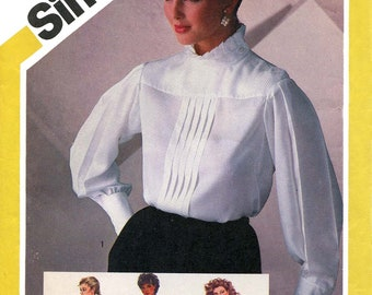 Simplicity 6171 Vintage 1980s  shoulder-buttoned blouse with high collar and full sleeve variations uncut sewing pattern