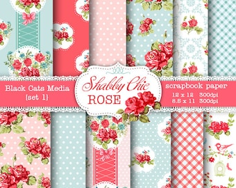 Shabby Chic Digital paper 12 x 12 in AND 8.5x11 in  -Shabby chic rose  for scrapbooking, invites, cards, instant download
