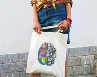 Left right brain tote bag-brain tote bag-anatomy bag-tote bag-personalized tote-shopping bag-steampunk tote-unisex tote-NATURA PICTA NPTB076