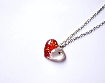 Pendant Red heart,  Necklace Love Heart jewelry, Red flowers resin heart necklace, Love Heart Red gift for Valentine Day, Red Swarovski gift
