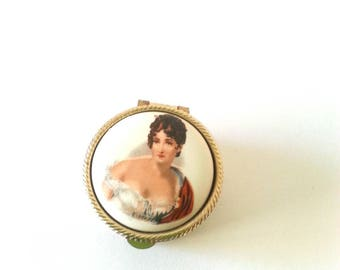 Porcelain and Metal Gold Tone Small Pill Box with Victorian Woman. Italy.