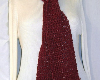 Red Scarf, Sparkle, Shiny, Party, Evening Wear, Deep Burgundy, 58 Inches Long, Womans, Mens, Crochet, Handmade, Trending, Birthday, Gift