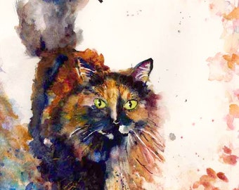Cat Art Watercolor Painting Tortoise Shell Cat Giclee Print Art Prints Original Art Gift Ideas Fine Art Magnets Carol Lytle Free Shipping #6