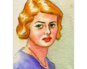 """celebrity portrait  """"study of young Ingrid"""" wall art home decor"""