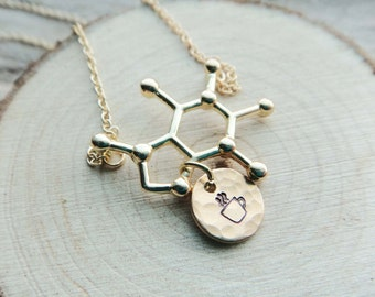 Caffeine Molecule Pendant- Personalized Letter Coffee Tea Pendant- Science Necklace Gold Plated Coffee Jewelry on Chain