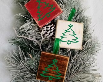 Rustic Christmas ornaments - set of 3. Wooden Handmade Christmas Tree ornaments. Christmas decorations. Christmas signs. Christmas gift.