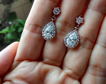Free Shipping-Teardrop Cubic Zirconia Stud Dangle Earrings, CZ Ear Studs, Sterling Silver Posts, Gift Ideas, For Her. Christmas Gift.