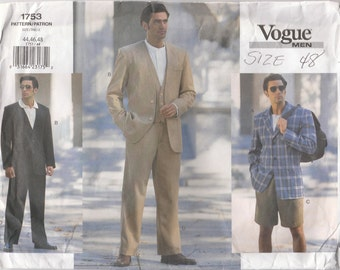 Men's Jacket, Vest, Pants & Shorts Pattern Vogue 1753 Sizes 44 46 48 Uncut